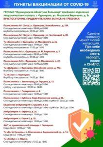 Пункты вакцинации в Одинцовском округе